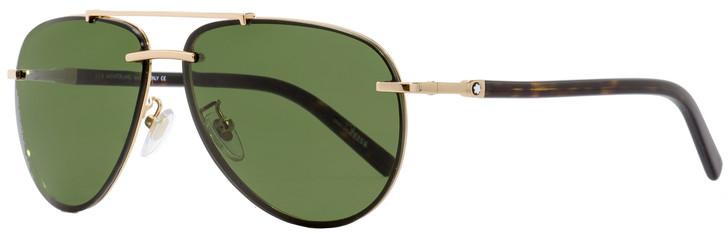 Montblanc Aviator Sunglasses MB596S 28N Gold/Havana 62mm 596