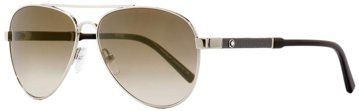 Montblanc Aviator Sunglasses MB645S 16F Palladium/Brown Horn 59mm 645