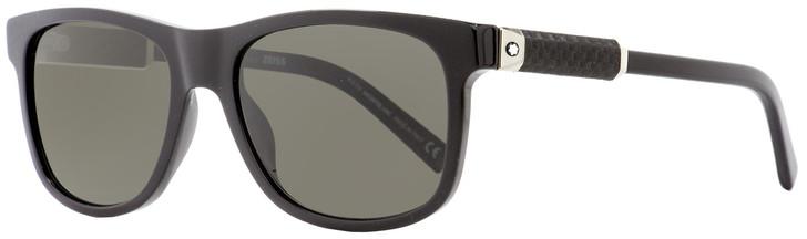 Montblanc Rectangular Sunglasses MB654S 01D Shiny Black Polarized 56mm 654