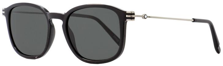 Montblanc Oval Sunglasses MB698S 01A Shiny Black/Palladium 52mm 698