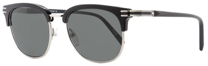 Montblanc Oval Sunglasses MB701S 01A Shiny Black/Palladium 52mm 701