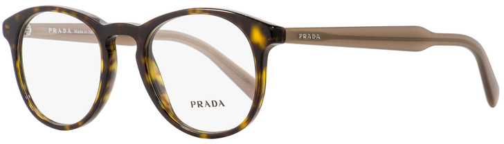 Prada Oval Eyeglasses VPR19S 2AU-1O1 Havana/Beige 48mm PR19SV