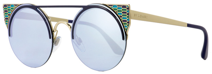 Bulgari Round Sunglasses BV6088 2020-6J Gold/Black/Blue 54mm 6088
