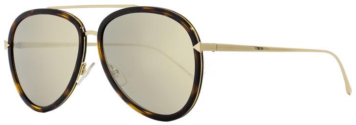 Fendi Aviator Sunglasses FF0155S 0C1UE Gold/Havana 57mm 155
