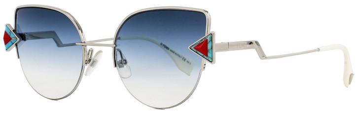 Fendi Cateye Sunglasses FF0242S SCBNE Silver/White 52mm 242