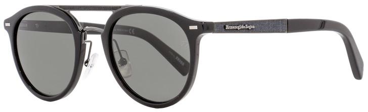 Ermenegildo Zegna Oval Sunglasses EZ0022 01D Shiny Black/Gunmetal Polarized 50mm 22