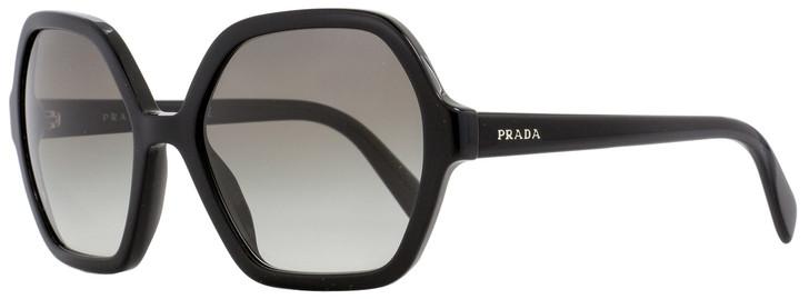 Prada Square Sunglasses SPR06S 1AB-0A7 Shiny Black 56mm PR06SS