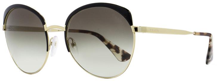 Prada Oval Sunglasses SPR54S QE3-0A7 Black/Gold 59mm PR54SS