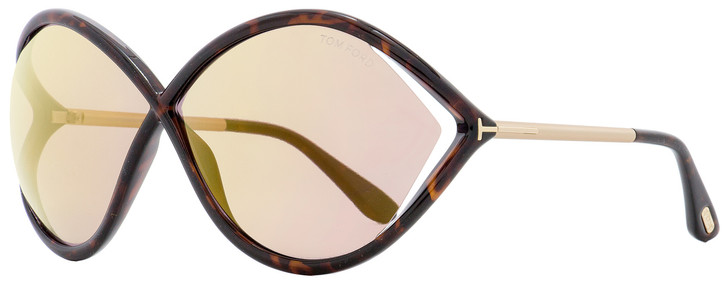 Tom Ford Butterfly Sunglasses TF528 Liora 52Z Dark Havana/Gold 70mm FT0528