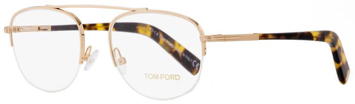Tom Ford Semi-Rimless Eyeglasses TF5450 28B Gold/Tortoise 49mm FT5450