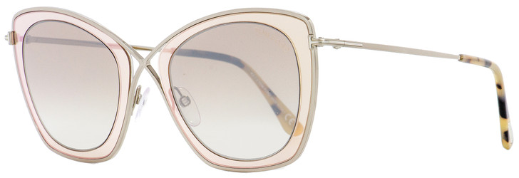 Tom Ford Butterfly Sunglasses TF605 India-02 47G Light Ruthenium/Brown 53mm FT0605