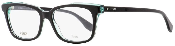 Fendi Rectangular Eyeglasses FF0252 807 Black/Acqua 52mm 252