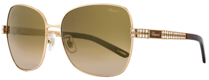 Chopard Rectangular Sunglasses SCHB25S R26G Gold/Brown 61mm B25
