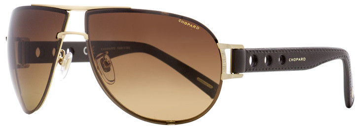 Chopard Wrap Sunglasses SCHB32 383P Gold/Brown Leather Polarized 67mm B32