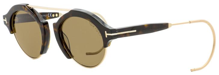 Tom Ford Oval Sunglasses TF631 Farrah-02 52J Dark Havana/Gold 49mm FT0631