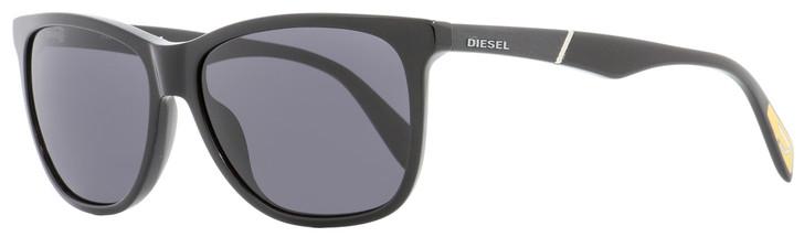 Diesel Rectangular Sunglasses DL0222 01A Shiny Black   57mm 222