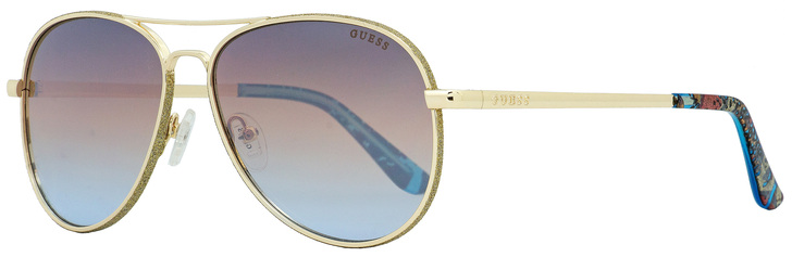Guess Aviator Sunglasses GU7555 33F Gold/Multi 59mm 7555