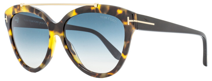Tom Ford Butterfly Sunglasses TF518 Livia 56W Tortoise/Black 58mm FT0518