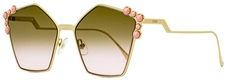 Fendi Square Sunglasses FF0261S 00053 Gold/Pink 57mm 261