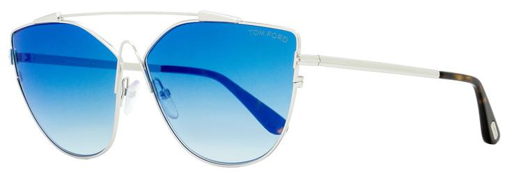 Tom Ford Butterfly Sunglasses TF563 Jacquelyn-02 18X Rhodium/Havana 64mm FT0563