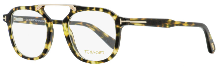 Tom Ford Square Eyeglasses TF5495 056 Green Havana 48mm FT5495