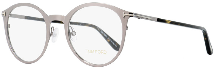 Tom Ford Oval Eyeglasses TF5465 014 Light Ruthenium/Havana 47mm FT5465