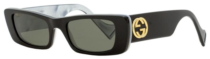 Gucci Rectangular Sunglasses GG0516S 001 Black/Gold/Pearl 52mm 0516