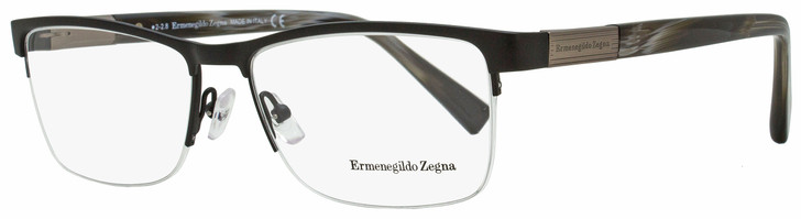 Ermenegildo Zegna Semi-Rimless Eyeglasses EZ5077 002 Matte Black/Gray Horn 56mm 5077