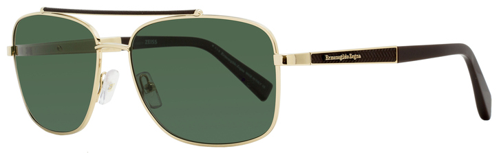 Ermenegildo Zegna Rectangular Sunglasses EZ0036 28R Gold/Brown Leather Polarized 59mm 0036