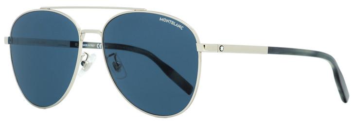 Montblanc Aviator Sunglasses MB0081SK 004 Silver/Blue Havana 61mm 0081