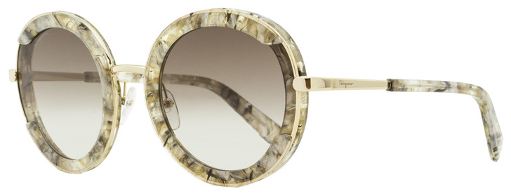 Salvatore Ferragamo Round Sunglasses SF164S Angel 277 Gold/Greige Stone 25mm 164