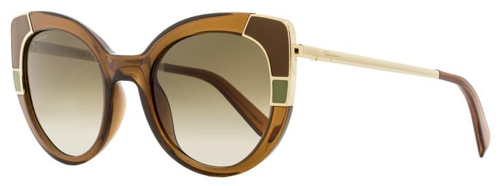 Salvatore Ferragamo Oval Sunglasses SF890S 210 Crystal Brown/Gold 22mm 890