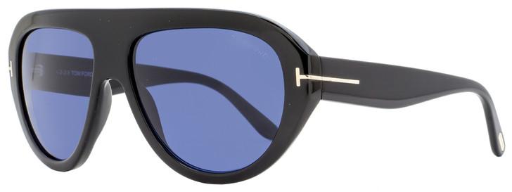 Tom Ford Oval Sunglasses TF589 Felix-02 01V Shiny Black   16mm FT0589