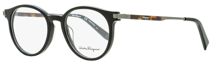 Salvatore Ferragamo Round Eyeglasses SF2802 001 Black/Gunmetal/Havana 50mm 2802
