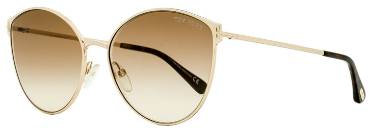 Tom Ford Cateye Sunglasses TF654 Zeila 28F Gold/Dark Havana 60mm FT0654