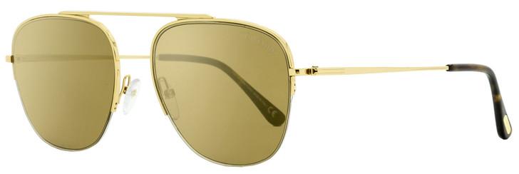 Tom Ford Semi-Rimless Sunglasses TF667 Abott 30G Yellow Gold/Havana 58mm FT0667