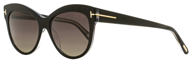 Tom Ford Butterfly Sunglasses TF430 Lily 05D Black/Crystal Polarized 56mm FT0430