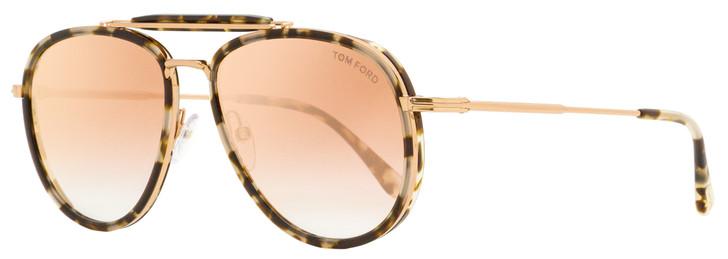 Tom Ford Pilot Sunglasses TF666 Tripp 55Z White Havana/Pink Gold 58mm FT0666