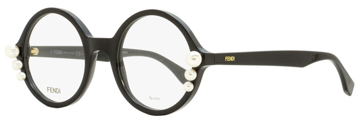 Fendi Round Pearl Eyeglasses FF0298 807 Black 51mm 298