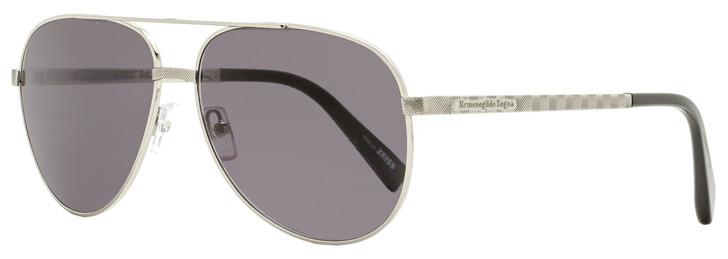Ermenegildo Zegna Aviator Sunglasses EZ0027 12A Ruthenium/Black 60mm 27