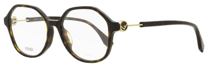 Fendi Geometric Eyeglasses FF0366F 086 Dark Havana/Gold 53mm 366