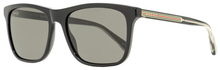 Gucci Rectangular Sunglasses GG0381S 007 Black Polarized 57mm 381