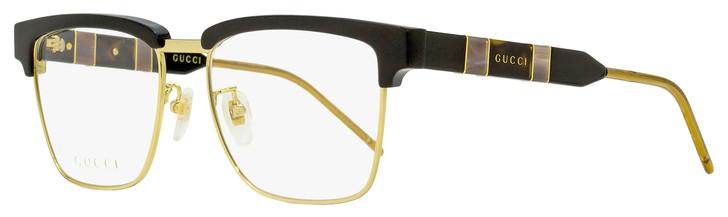 Gucci Rectangular Eyeglasses GG0605O 001 Gold/Black 52mm 605