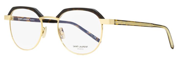 Saint Laurent Square Eyeglasses SL 124 003 Gold/Clear/Havana 50mm 124