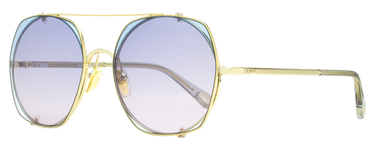 Chloe Clip-on Sunglasses CH0042S 002 Gold/Clear 56mm 42