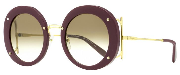 Salvatore Ferragamo Round Sunglasses SF939S 603 Bordeaux/Gold 52mm 939