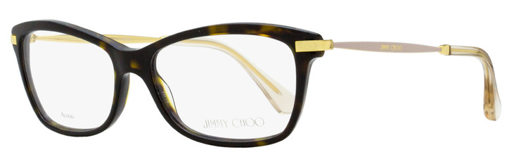 Jimmy Choo Rectangular Eyeglasses JC96 7VI Dark Havana/Gold 52mm 96