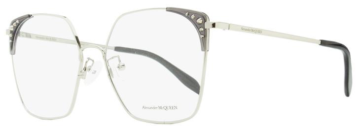 Alexander McQueen Square Eyeglasses AM0312O 001 Silver/Black 56mm 312
