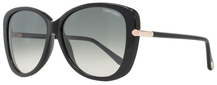 Tom Ford Butterfly Sunglasses TF324 Linda 01B Shiny Black 59mm FT0324