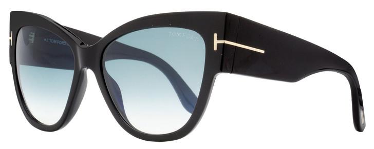 Tom Ford Cateye Sunglasses TF371 Anoushka 01B Shiny Black 57mm FT0371